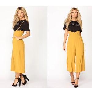 Trendy Tina High Rise Woven Pants - Mustard